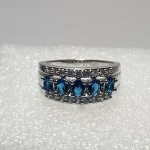 14K White Gold Plated Blue Sapphire Ring Size 6